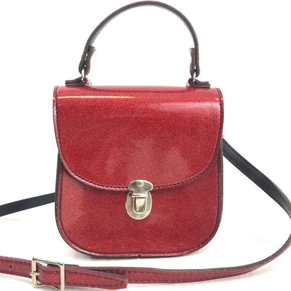 Vintage Handbags - Red Glitter Structured Crossbody Bag Made in USA